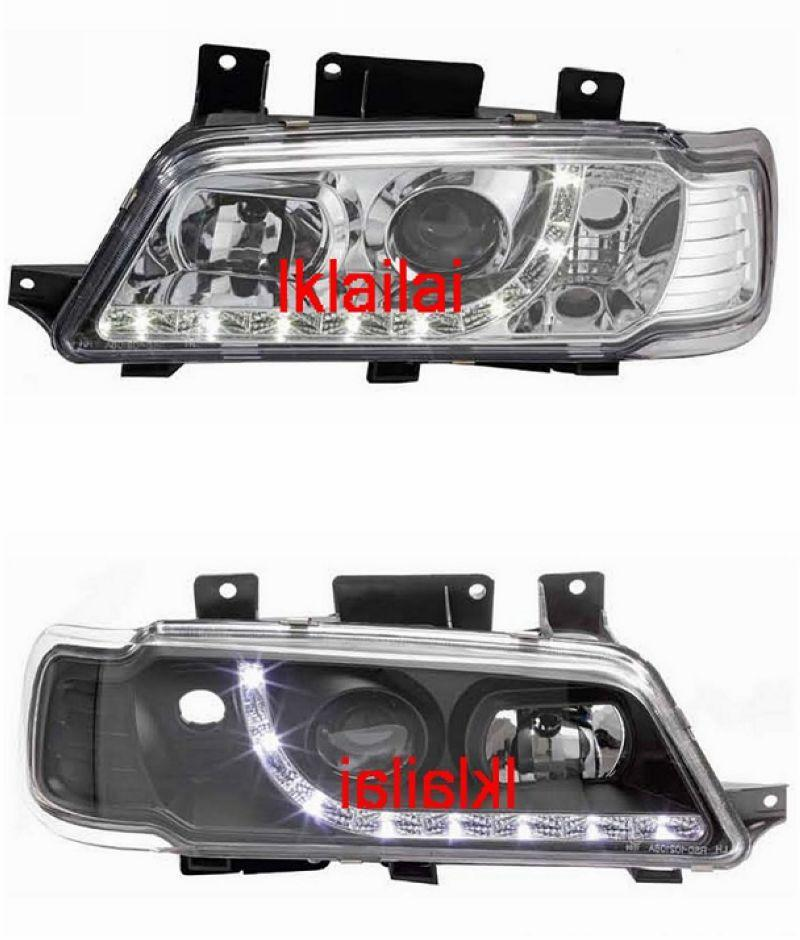 Peugeot 405 Crystal Projector Head Lamp DRL R8 [Chrome/Black]