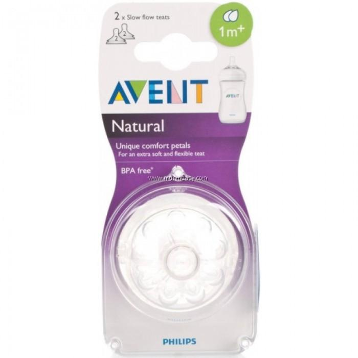 Philips Avent Natural Teat Twin Pack - 2 Holes (Slow Flow 1m+)