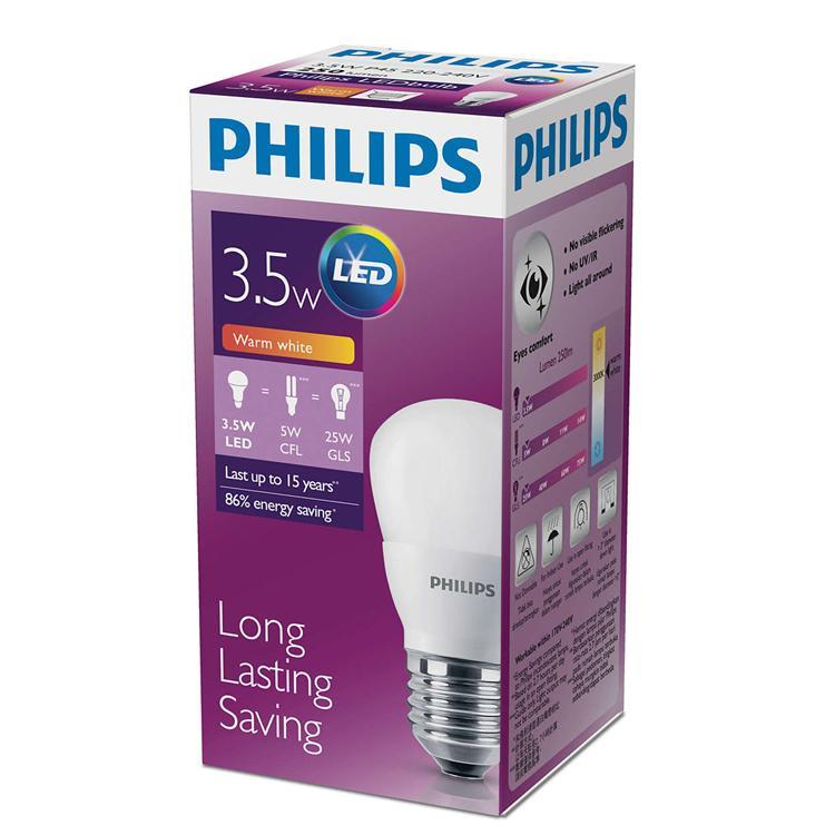 Philips LED Bulb E27 3.5W 3000K Warm White lighting replacement DIY