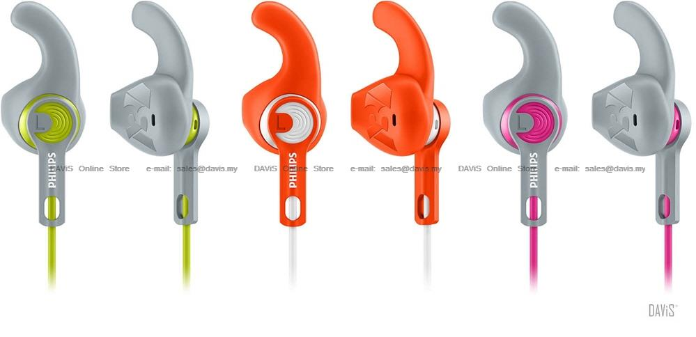 Philips SHQ1300 Sports Earphones . C-Shaped . SecureFit . Lightweight