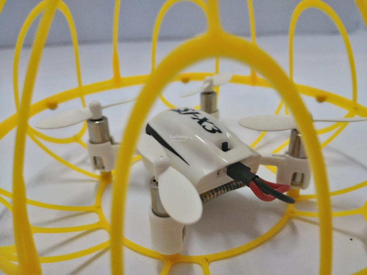 PhotonSpirit CSJ-X3 Mini Drone w/Protection Cage-White/Yellow Cage