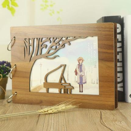 Piano DIY Hollowed-out Wooden Textured Photo Album