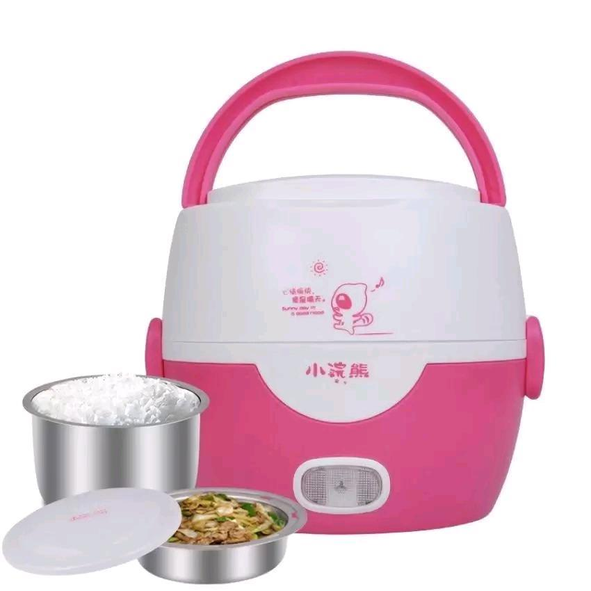 Pink 1.3L Stainless Steel Double Layer Electric Heating Lunch Box