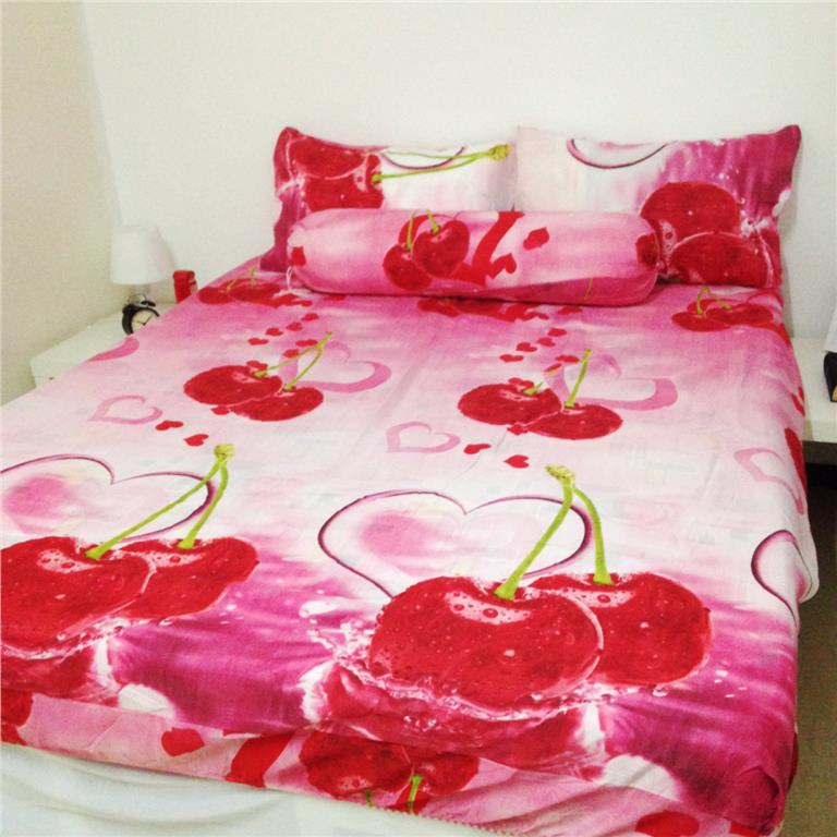 Pink Cherry Queen Size Bedsheet Cadar Bedding 4pcs Set
