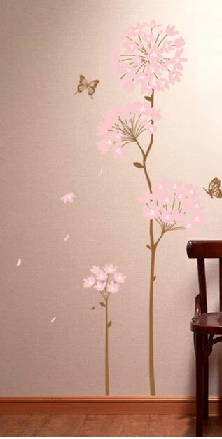 Pink Flower Home Wall Stickers