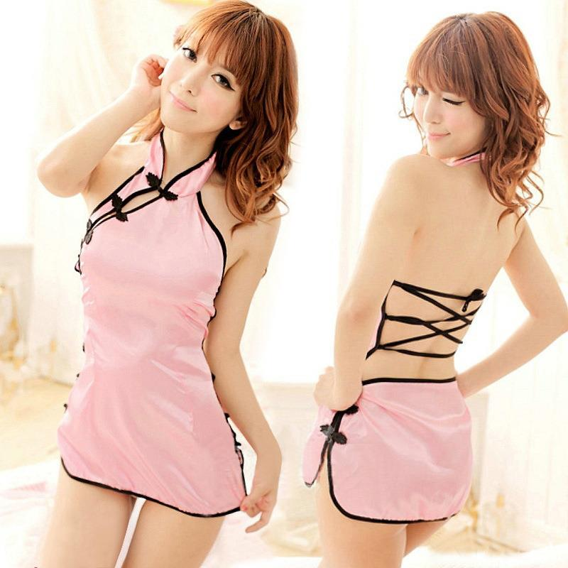 Pink Ice SilkBabydoll Dress  Chinese Costume Sleepwear Lingerie
