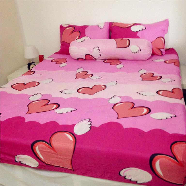 Pink Lovely Love Queen Size Bedsheet Cadar Bedding 4pcs Set