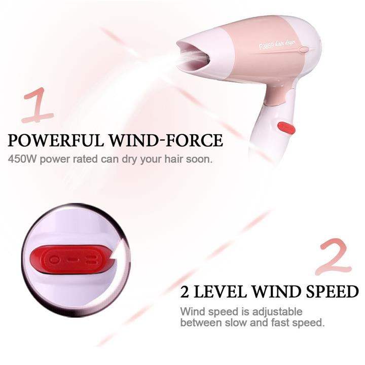 Pink Portable Mini Compact Folding Hair Dryer 450W 2 Speed Traveller