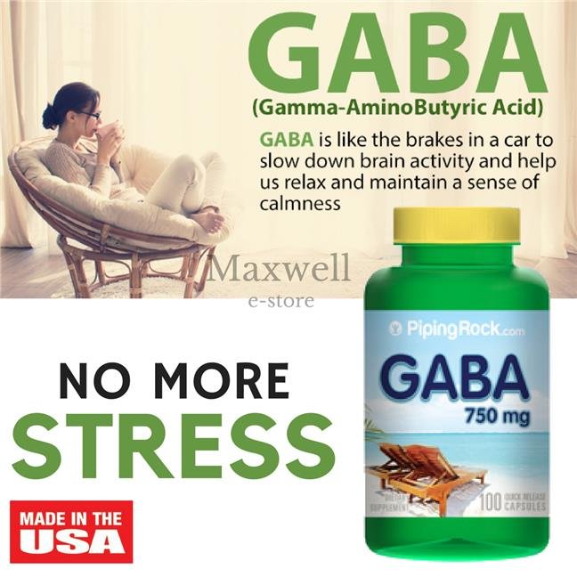 Piping Rock, GABA 750 mg (Gamma-Aminobutyric Acid) 100 Capsules