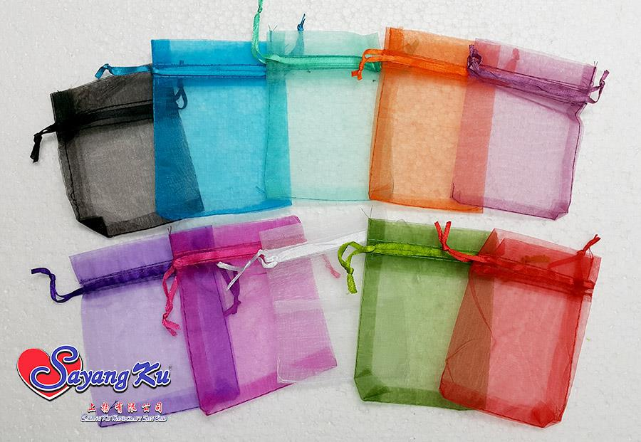 PLAIN COLORFUL 0912 ORGANZA BAG 100 PCS PER PACK