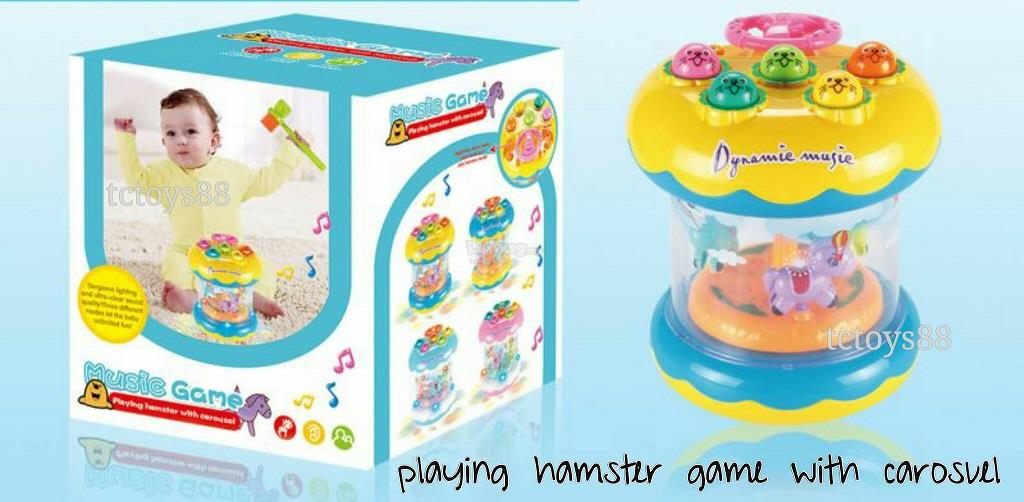 Playing Hamster Game With Carosuel and Dynamic Music Game Kids Toys