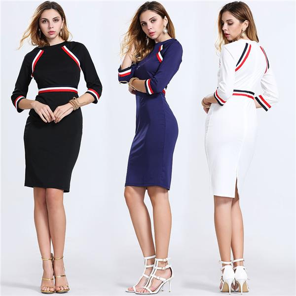 Plus Size S-2XL ~ Euro Long Sleeve Mix Color Dress