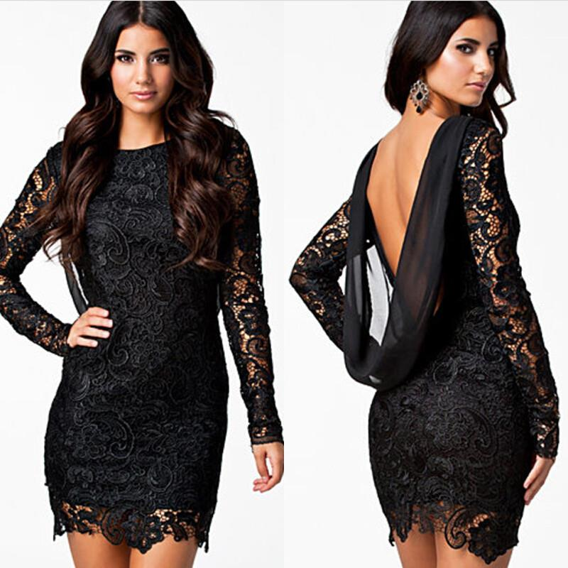 Plus Size S-XL ~ Euro Lace Fashion Long Sleeve Party/Dinner Dress