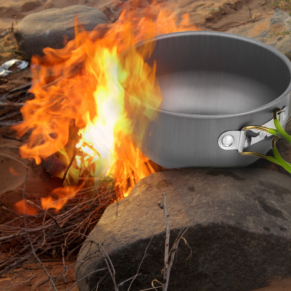 Portable Outdoor Cooking Set Aluminum Pot Bowl Cookware Camping Picnic..