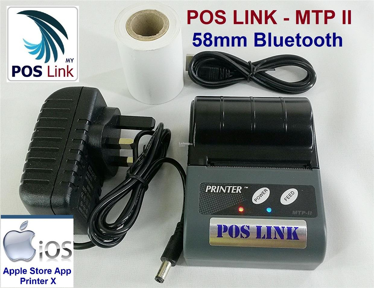 POS Link- MTPII iOS 58mm Portable Thermal Printer ,Bluetooth 4.0