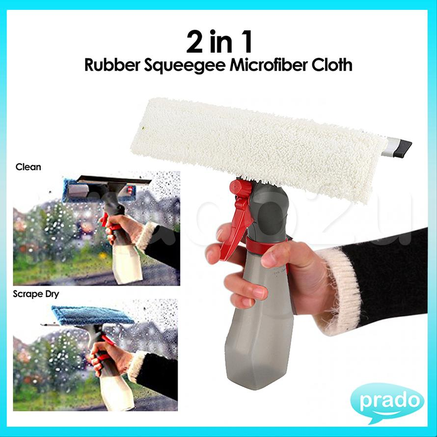 PRADO Squeegee Microfiber Window Glass Cleaner Spray Pump Mop Wiper