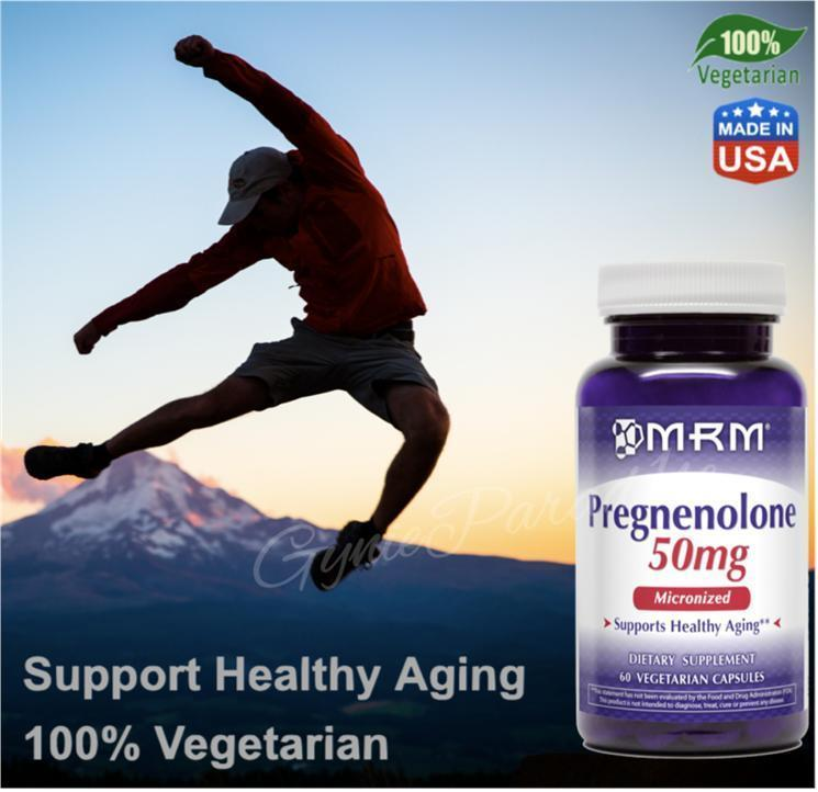 Pregnenolone 50mg Micronized, Support Healthy Aging, 60Vcap (USA)