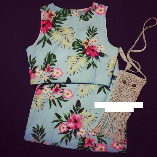Prelove Hawaii flower short skirt piece fitted vest