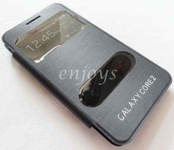 Premium BLACK S View Flip Cover Case Samsung Galaxy Core 2 G355 G355H