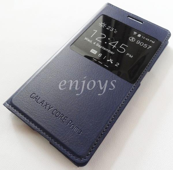 Premium Leather BLUE S View Case Cover Samsung Galaxy Core Prime G360H