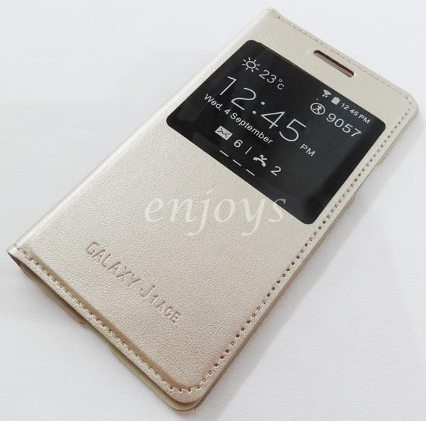 Premium Leather GOLD S View Case Cover Samsung Galaxy J1 Ace /SM-J110G