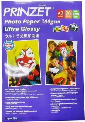 PRINZET A3 5760DPI ULTRA GLOSSY PHOTO PAPER 200GM, 20SHEET