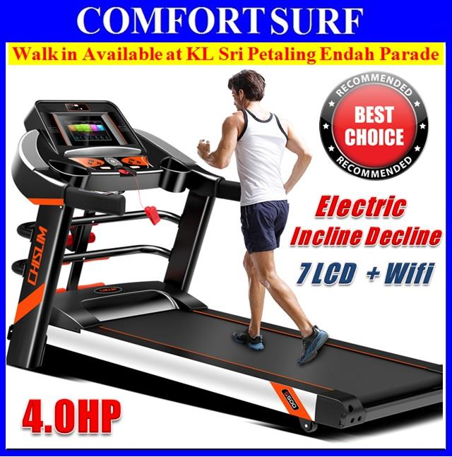 PRO 4.0HP CHISLIM S500 Luxury Electric INCLINE Wifi 7' LCD Treadmill