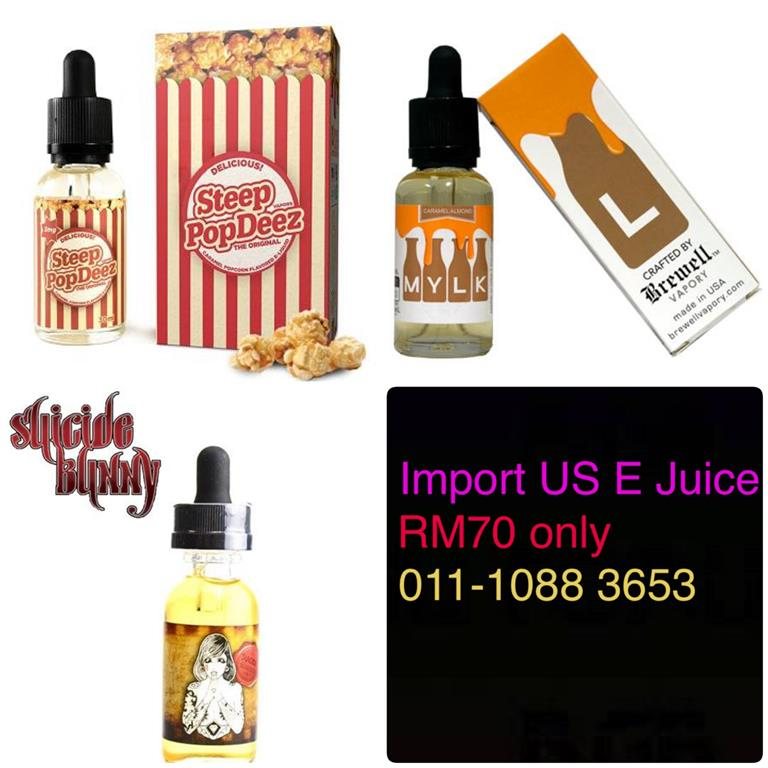 Promo Imported US Premium E Juice E Liquip !!RM70/Bottle
