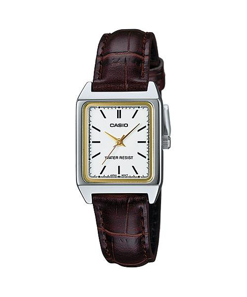 PROMO Sales CASIO ANALOG LTP-V007L-7E2 Ladies Square Face Gold Band
