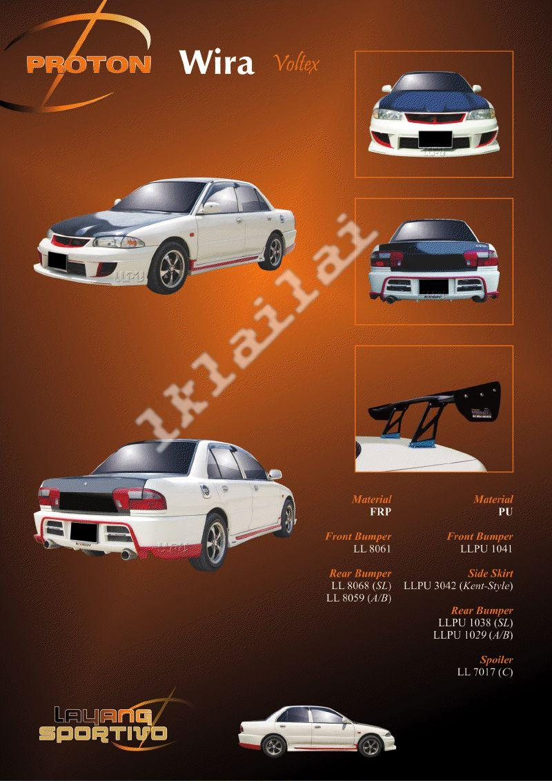 Proton Wira Voltex Style Full Set Body Kit [Bumper/Skirt/GT Wing]