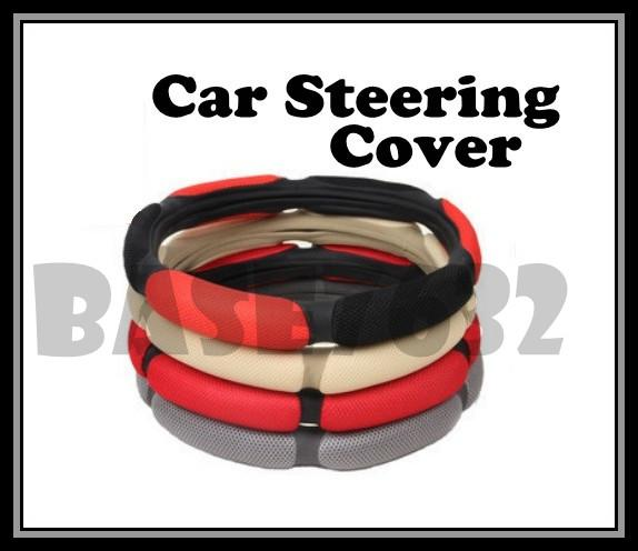 PU Leather Car  Steering Wheel Cover Anti-slip Easy Grip Safety