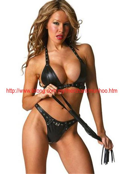 PU Leather Lingerie Bra Panties Pole Dance Costume Set 9260
