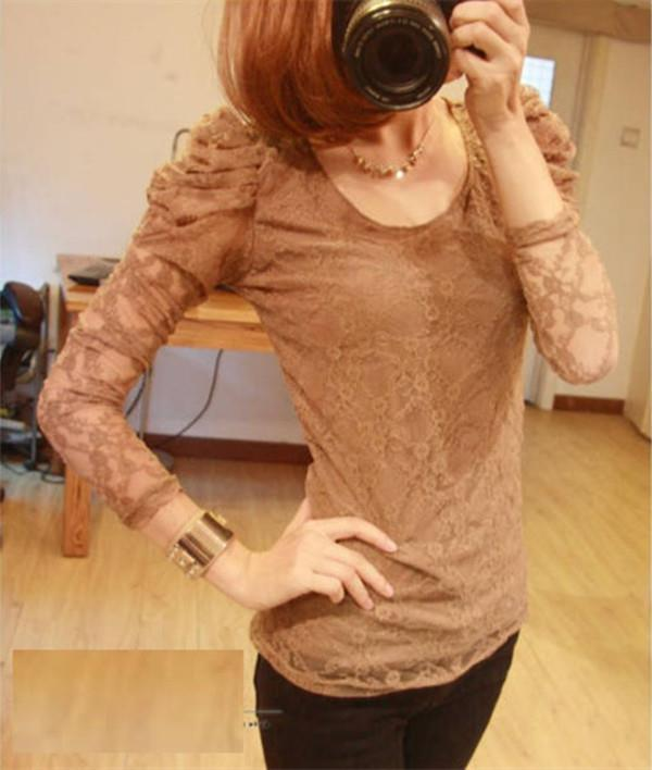 Puff Lace Chiffon Long Sleeve Shirt - Sexy Skin Brown Color