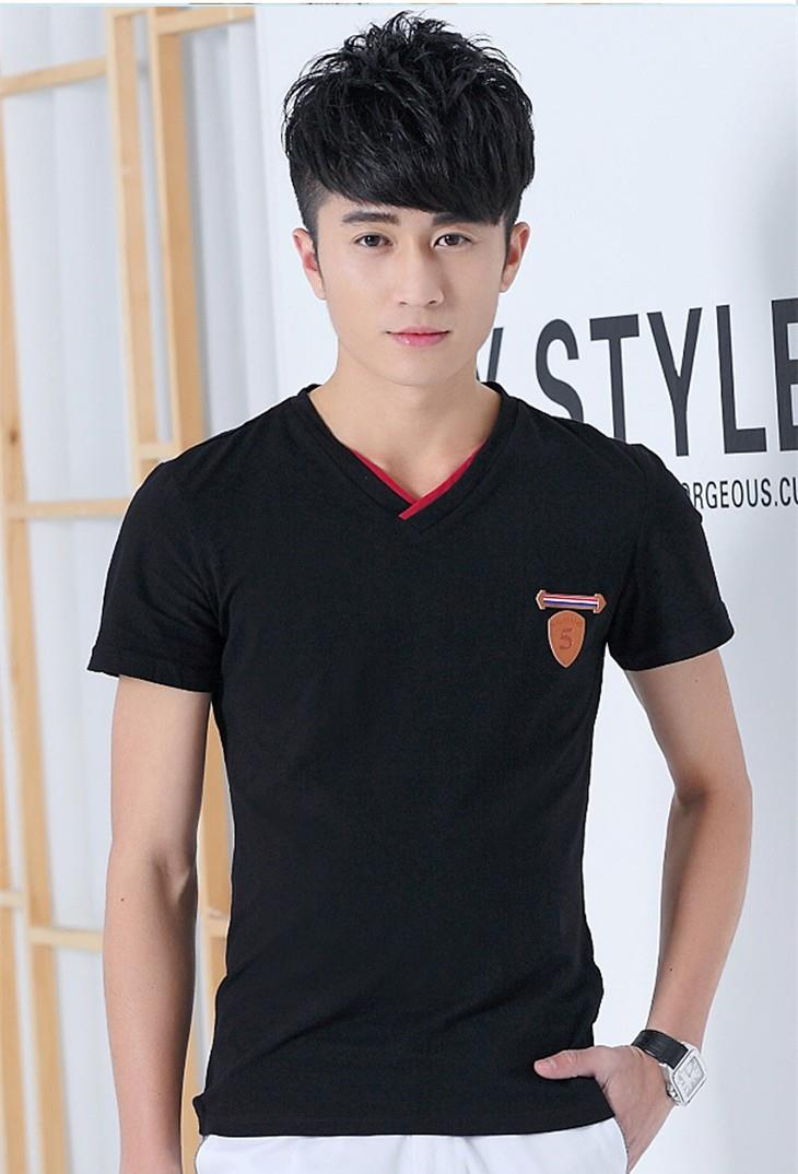 Pure Cotton V Show-slim Men T-shirt (Black)