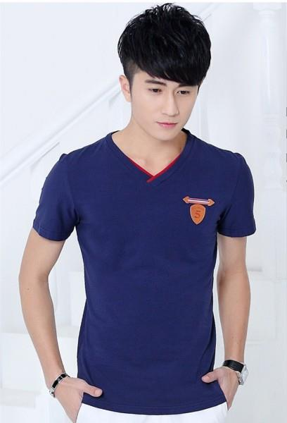 Pure Cotton V Show-slim Men T-shirt (Blue)