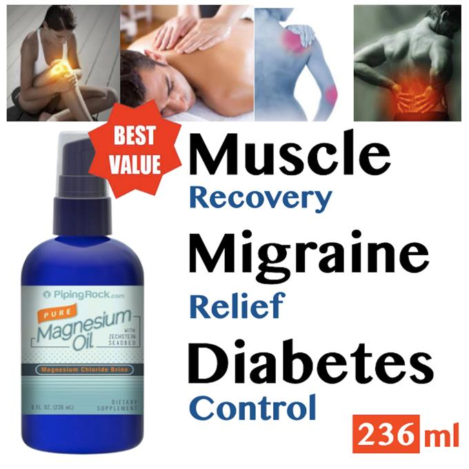 Pure Magnesium Oil 237ml (Muscle Relax, Migraine, Stress, Hypertension