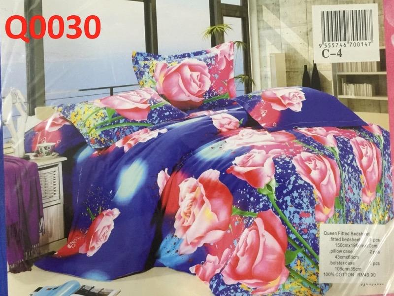 Queen size fitted bedsheet (Q030)