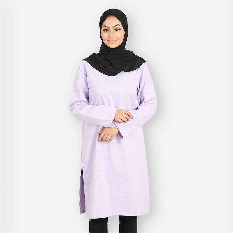 Raesyah Blouse Long Tunic Long Top muslimah-purple