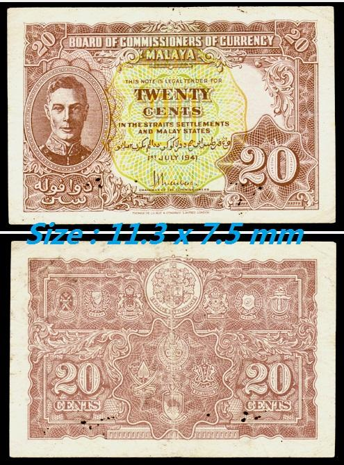 "Rare 1941 , Malaya King George VI "" 20 Cents "" Banknote VF"