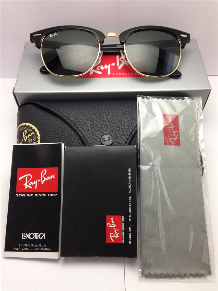 ray ban clubmaster 51mm black  Ray Ban Clubmaster Black/Gold Frame G (end 4/8/2017 1:15 AM)