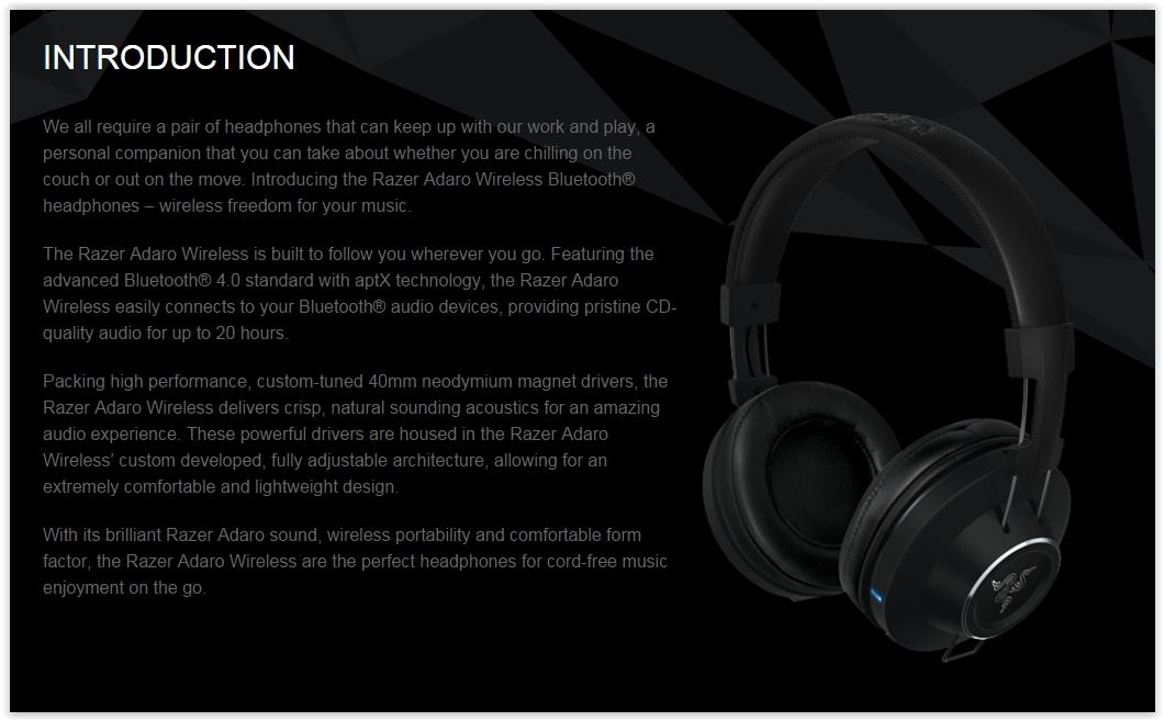 RAZER ADARO WIRELESS HEADSET (RZ12-01110100-R3M1)