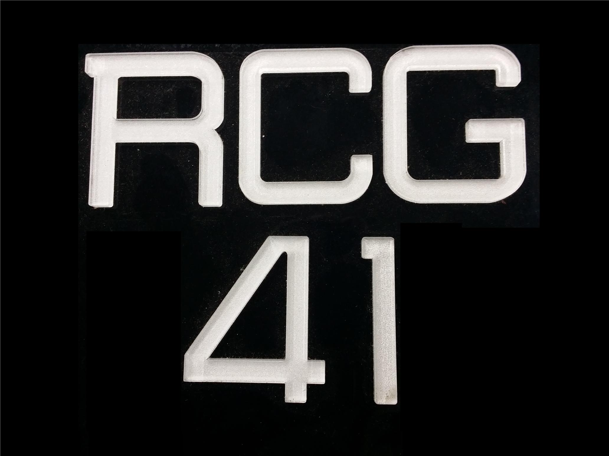 RCG FONT CRYSTAL ACRYLIC CAR NUMBER PLATE SET 2 - 7 ALPHABET