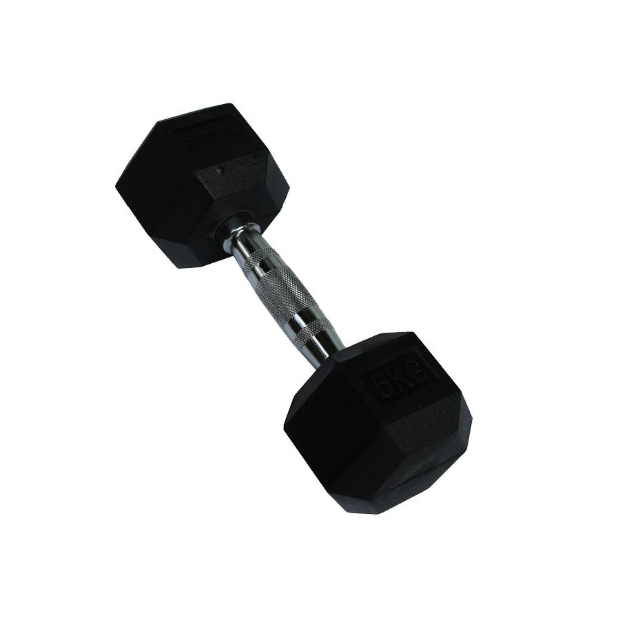 RCL DBHX9050 5KG Rubber-Coated Hexagon Dumbbell