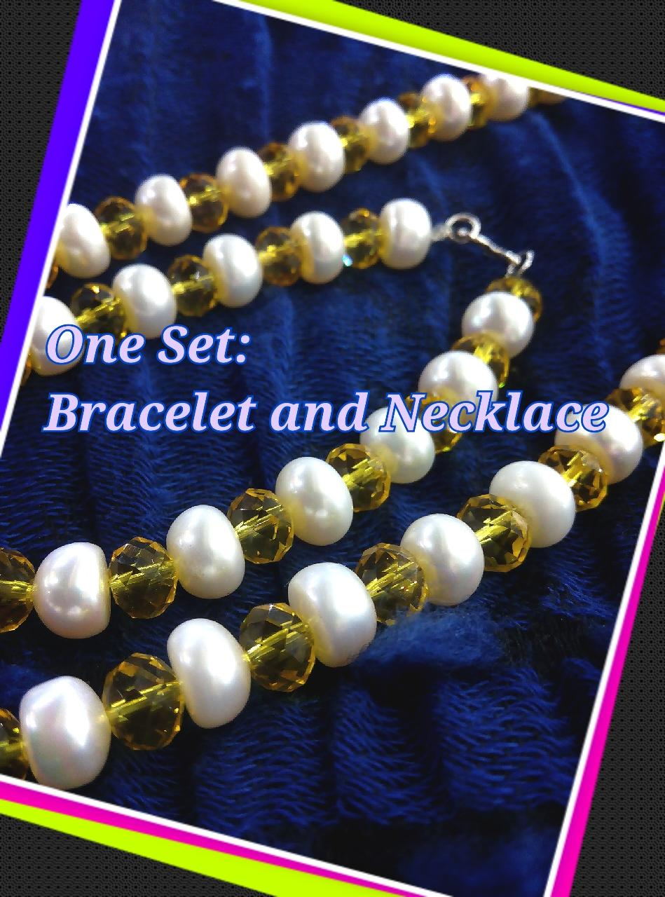 Real Pearl Necklace-Class B-half cut-one set