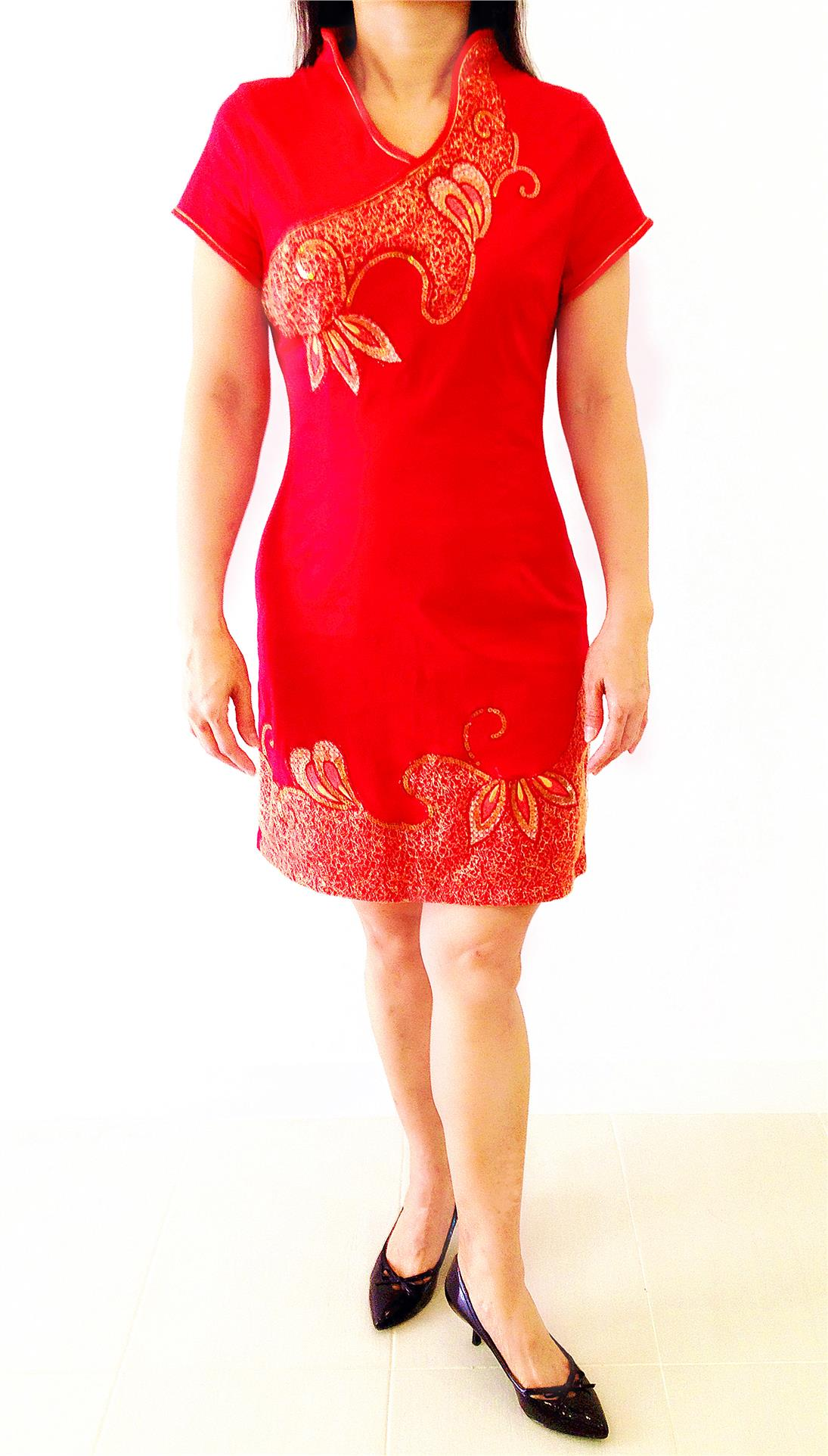 Red Cheongsam with Embroidery