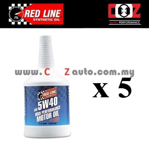 RED LINE REDLINE 5W40 Fully Synthetic Engine / Motor Oil (5 BOTTLES)