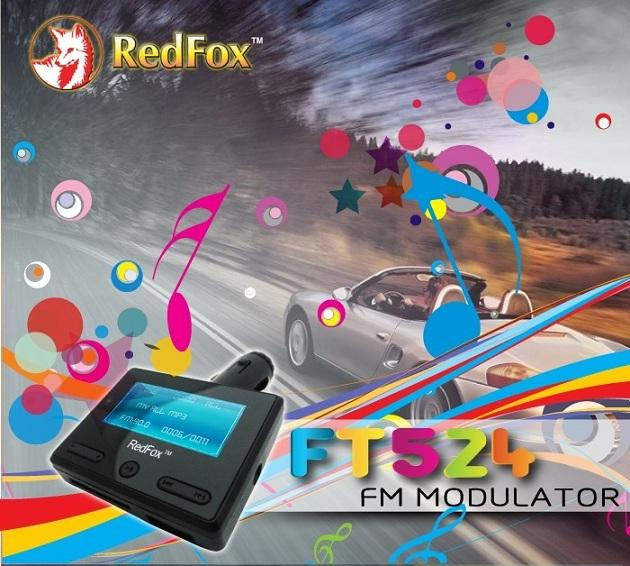 REDFOX 4GB FM MODULATOR MP3/MP4/WMA + MEMORY SLOT + REMOTE, FT524
