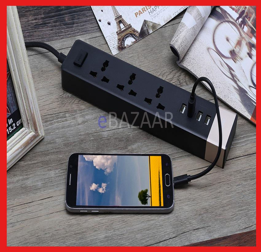 REMAX Power Strip Extension Socket 4 USB Port Charger Combo