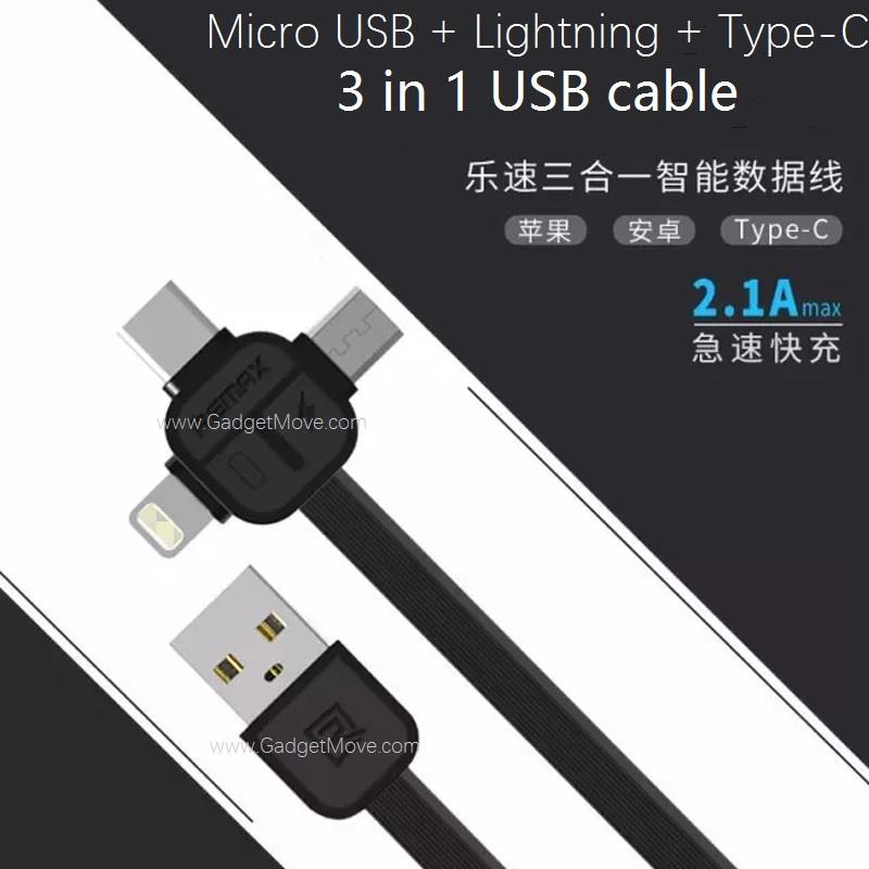 Remax RC-066TH 3 in 1 Apple Lightning Micro USB  Type-C Cable