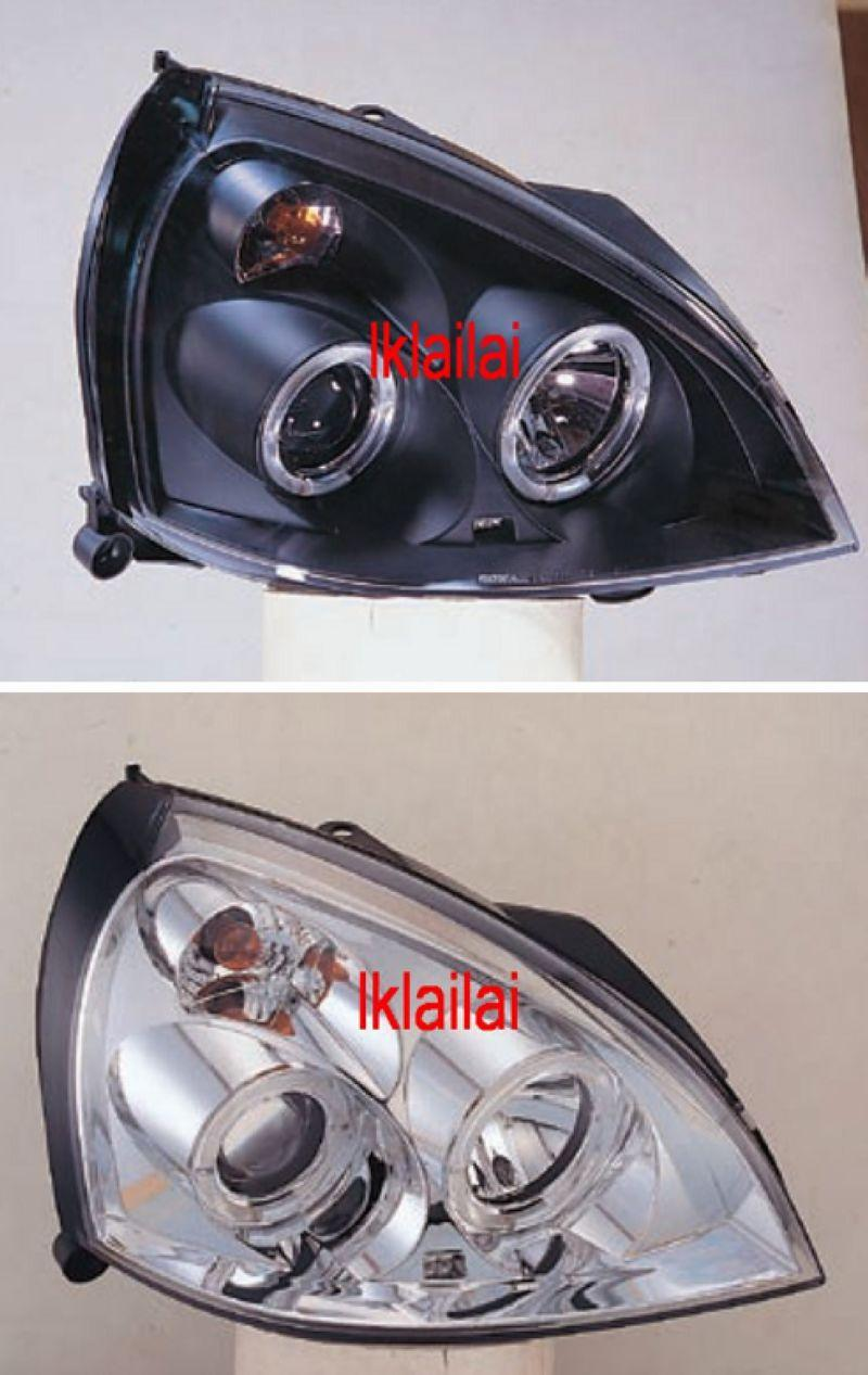 RENAULT CLIO 01-04 3D/5D LED Ring Head Lamp [Black/Chrome Housing]